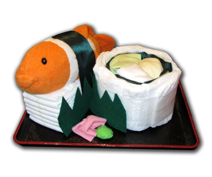 Diaper Sushi for Baby (C) - Etsy Collaboration with LuLusWoobies