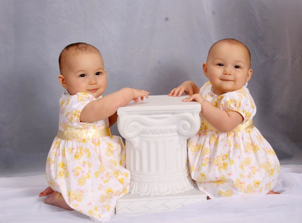 Cute Twin Baby Sisters