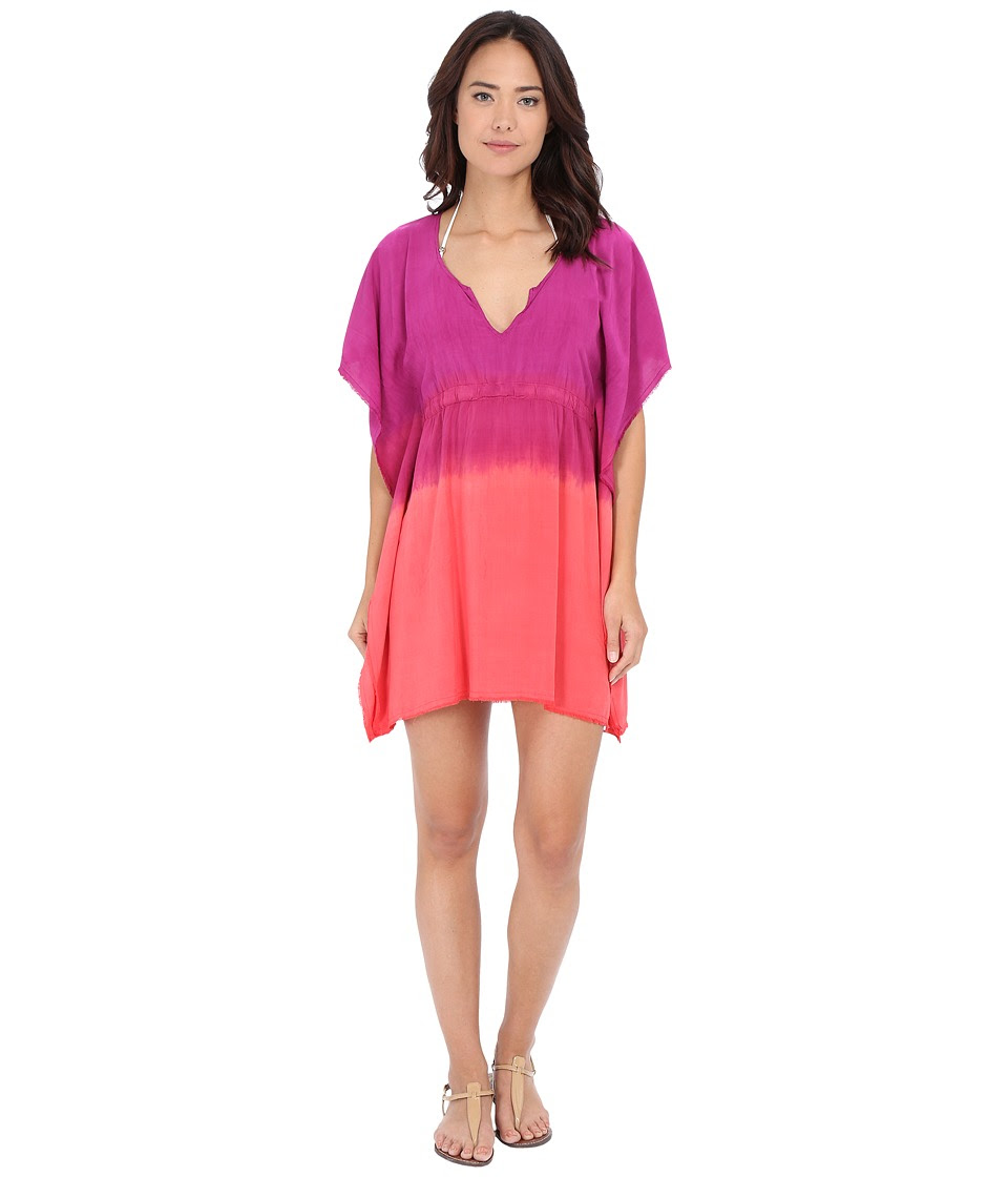 BECCA by Rebecca Virtue - Sunrise Midnight Tunic Cover-Up (Fuchsia\/Papaya) Women's Swimwear