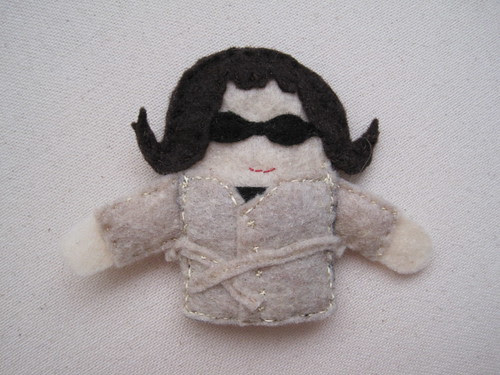Kate (as a 1960's spy) finger puppet