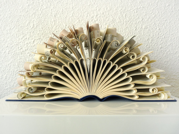 """Book Art Sculpture """"Peacock"""""""