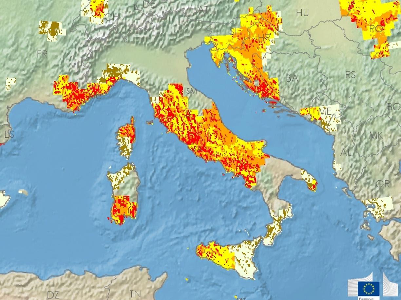 L'indice di siccità in Italia al 20 agosto 2017 (foto Edo)