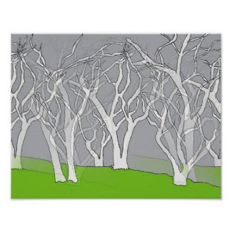 Stunning White Trees Art Poster