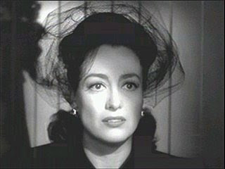Joan Crawford's large haunting eyes in Mildred Pierce