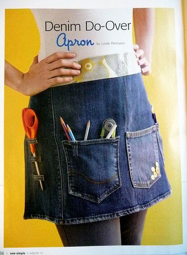 Recycle jeans to make an apron!