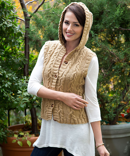 Hooded Cable Vest..# free #KNITTING pattern link here