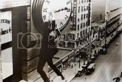 The iconic shot of Harold Lloyd hanging from the hands of a clock in Safety Last