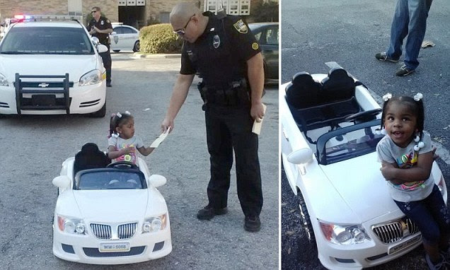 The adorable moment when Jacksonville police officer Christian Velasco handed a $4 speeding ticket to two-year-old Za'Dariyah Mishaw, who loves being the centre of attention