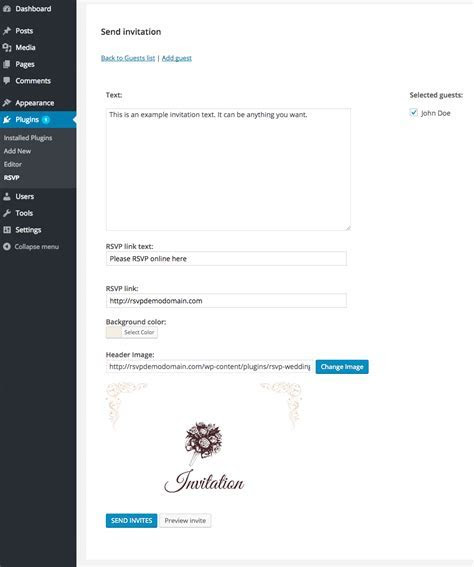 RSVP and Wedding Invitation WordPress Plugin by