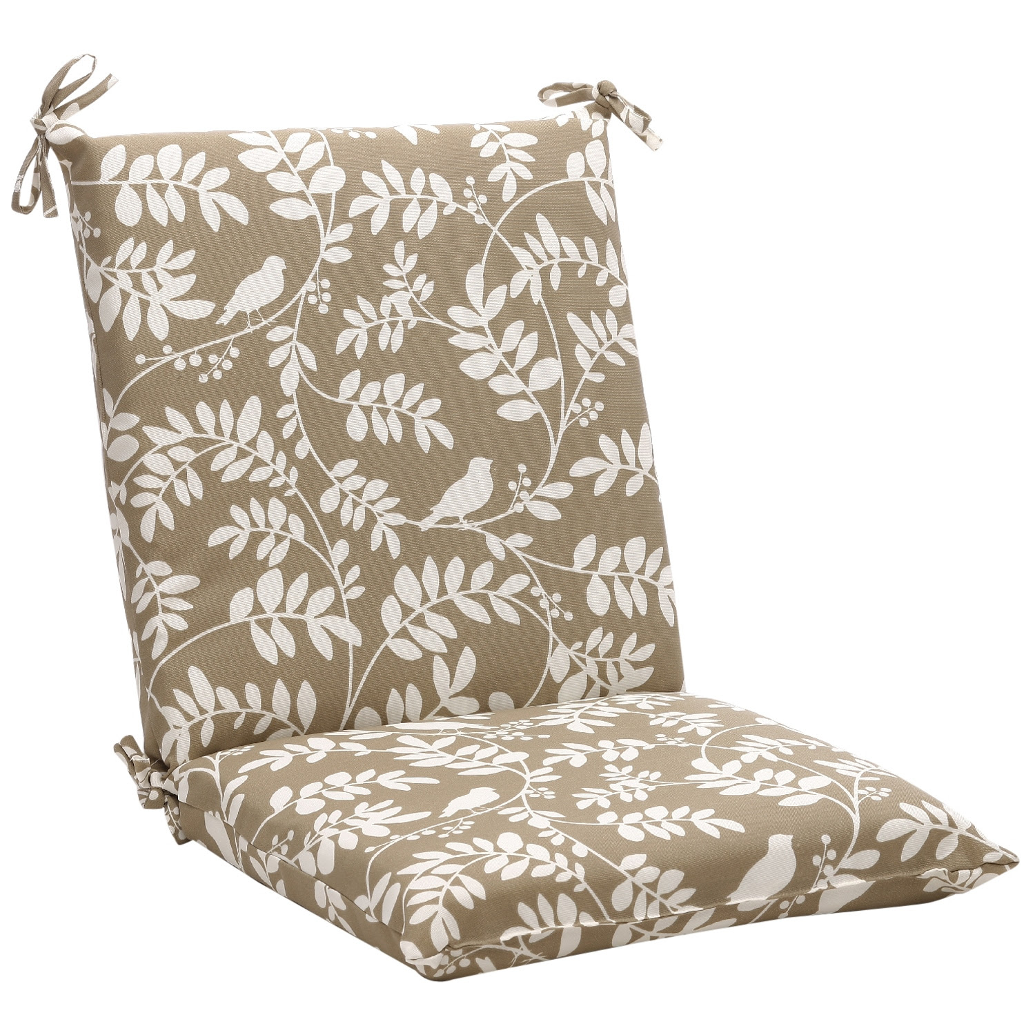 Squared Taupe Floral Outdoor Chair Cushion - 14095682 ...
