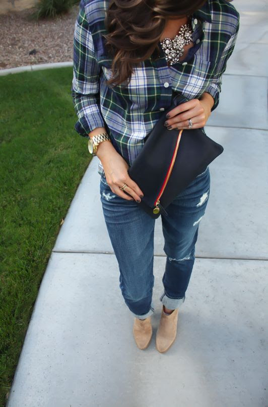 Cute fall outfit | sparkles, plaid, boyfriend jeans