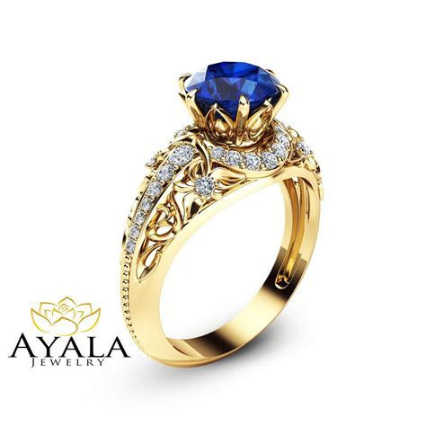 Blue Sapphire Engagement Ring 14K Yellow Gold Ring Natural