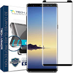 Samsung Galaxy Note 8 Glass Screen Protector from Tech Armor, 3D Curved Ballistic Glass, Case-Friendly, Black