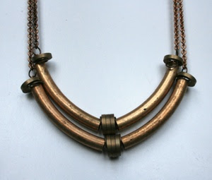 laura lambardi's copper tube necklace