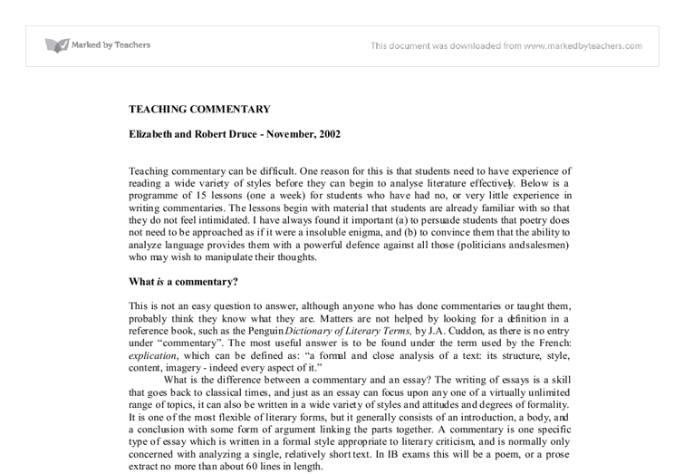 how to write commentary in an argumentative essay