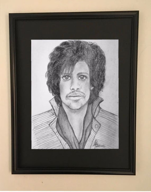 Prince Pencil Portrait Framed and MattedArt Print Rock