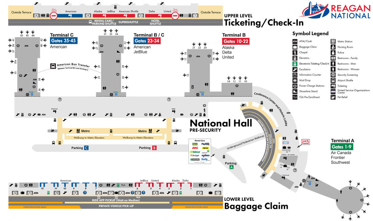 Map Of Reagan Airport Dca Airport Map | Kitchen 2018