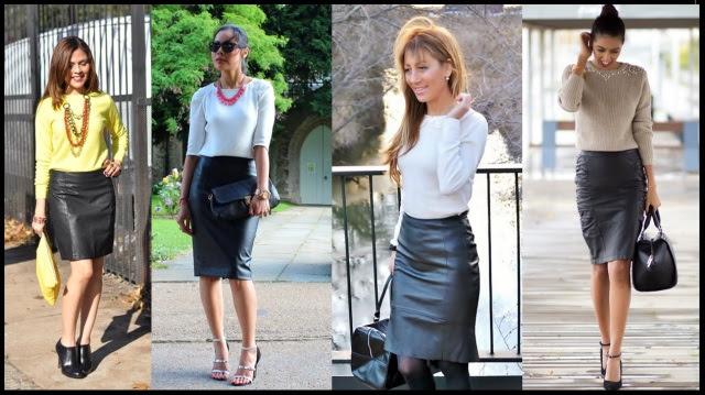 03_Como usar saia de couro_Look para trabalhar_saia de couro com blusa de malha e maxicolar