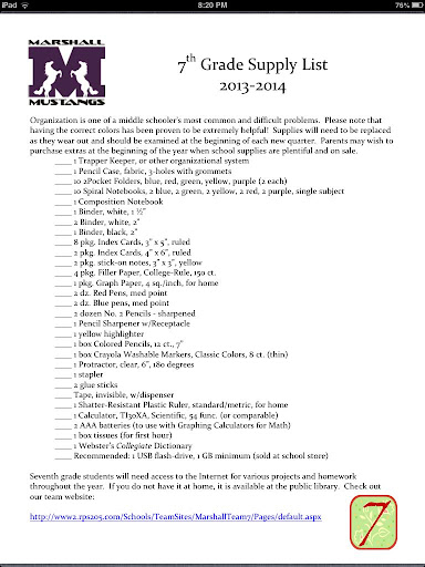 back to school supply list for 7th grade - School Style