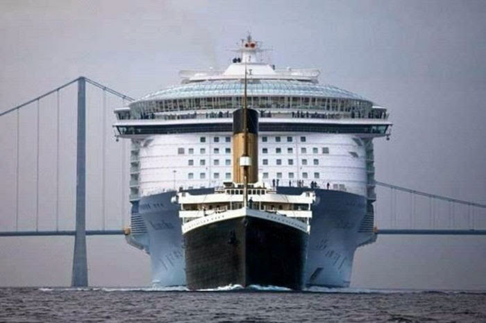 8 - Size Comparison: Titanic Vs. Modern Cruise Ship