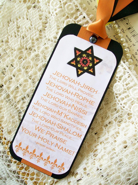 Handmade Bookmark Religious Spiritual Prayer Names of Jehovah Bookmark