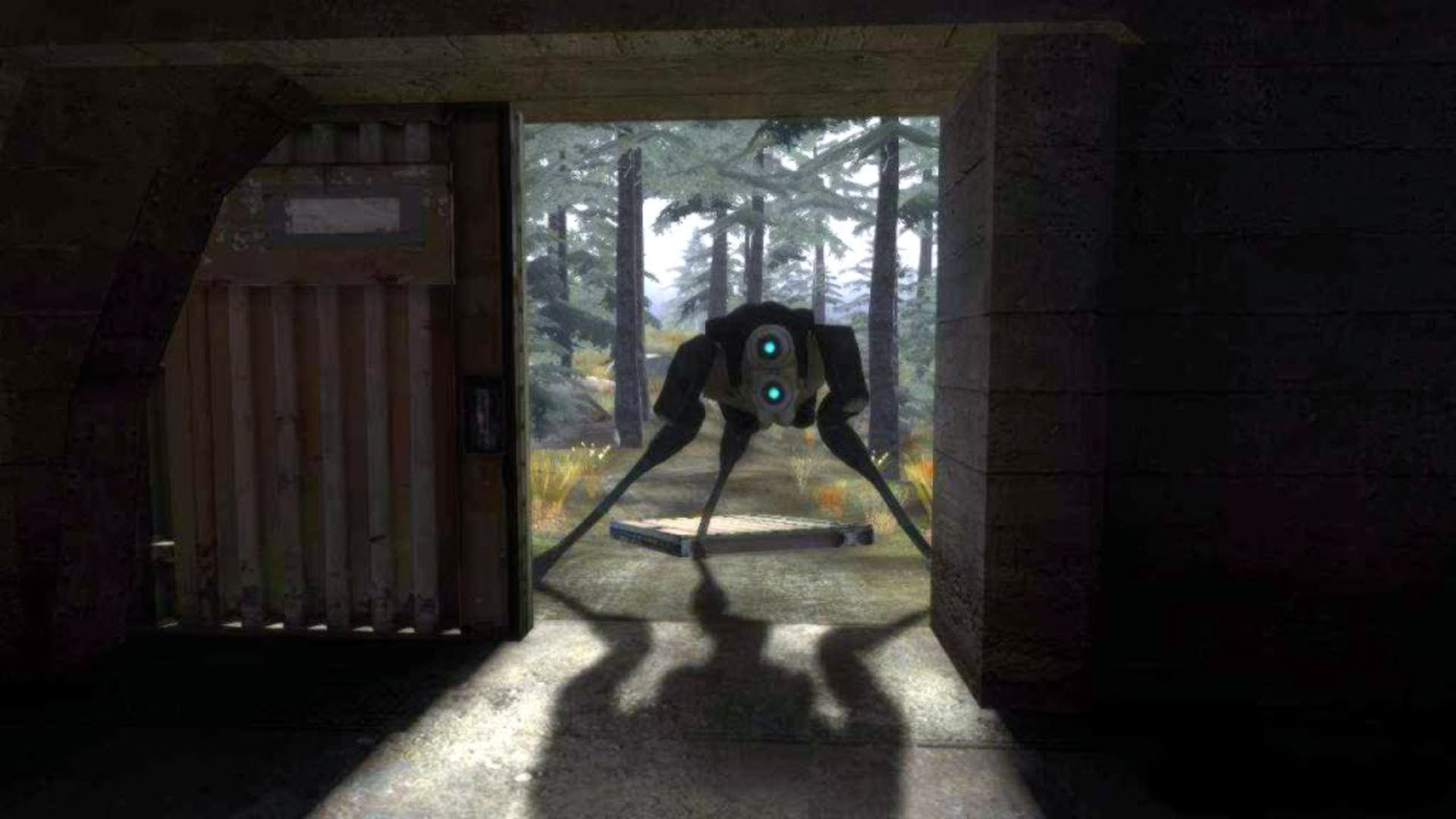 Combine Hunter Looking In Garage Half Life 2 Wallpaper