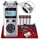 Tascam DR-05X Stereo Handheld Digital Audio Recorder with USB Audio Interface (Silver) + SR360 Headphones, Fur Windscreen, 16GB Memory Card, Tripod &