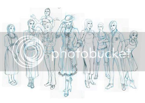 skizze Frauen kleider