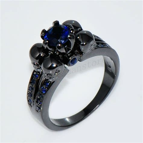Gothic Skull Blue Sapphire Engagement Ring Women/Men's