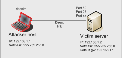 Network configuration for DDOS simulation