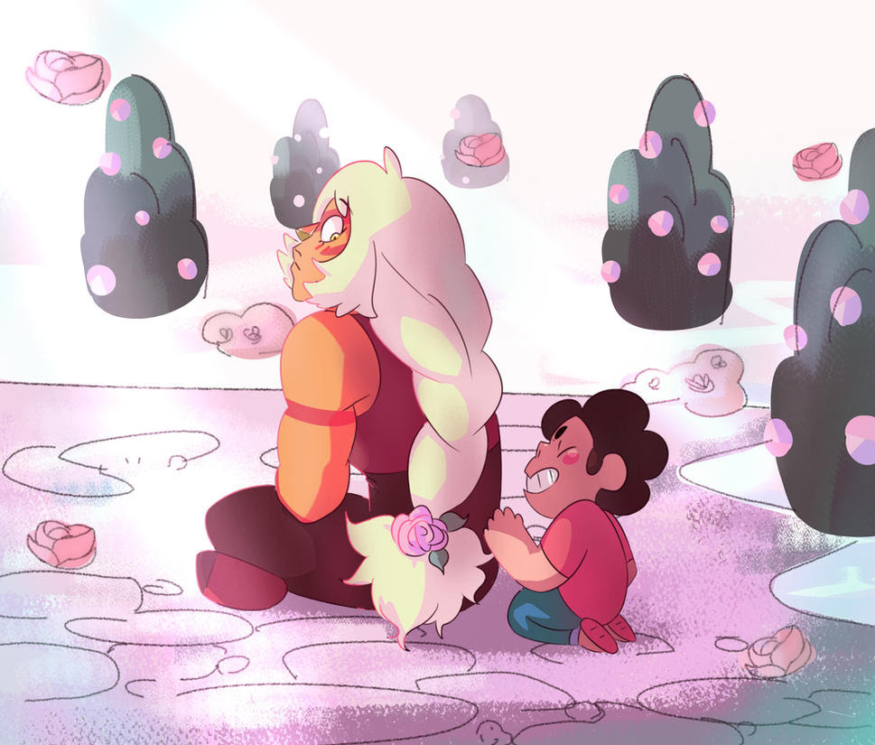 This is what i imagine bonding with steven would be like for jasper Don't mind me, just making a decent background for once :'D I sampled the colors from the show's BG, ad again, tried to copy the ...