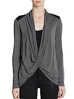 Saks Fifth Avenue BLACK Faux Leather Twist Top