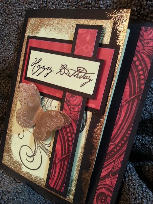 Happy Birthday Red Green and Gold Butterfly Card by Kimholmes