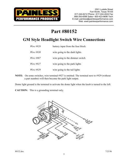 Painles Gm Headlight Switch Wiring Diagram