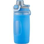 Bubba Flo 16oz Plastic/Silicone Kids Water Bottle, Blue/Gray
