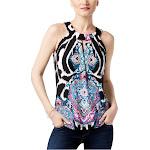 I-N-C Womens Printed Halter Blouse decorativezbra S