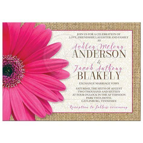 Rustic Pink Daisy Burlap Lace Wedding Invitation