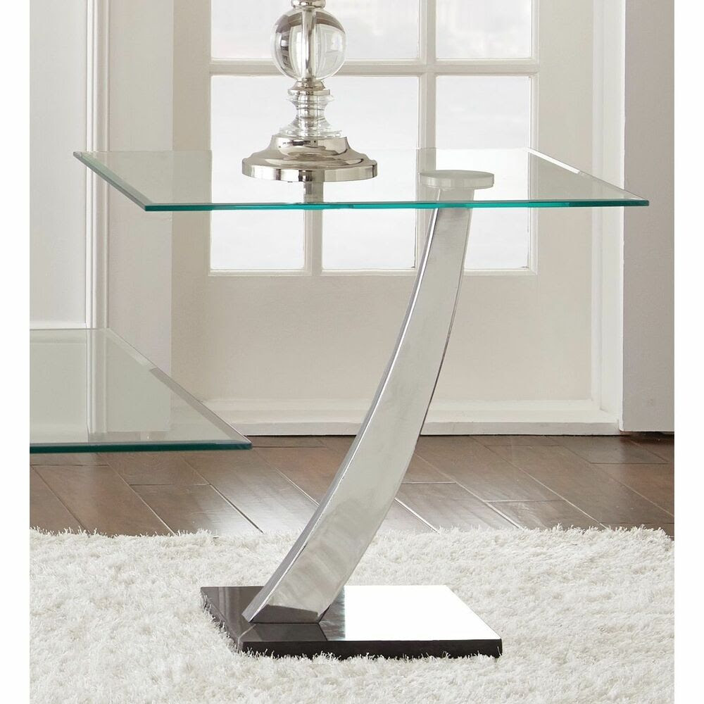 """Chrome and Glass """"End Table"""" Living Room Accent Home ..."""