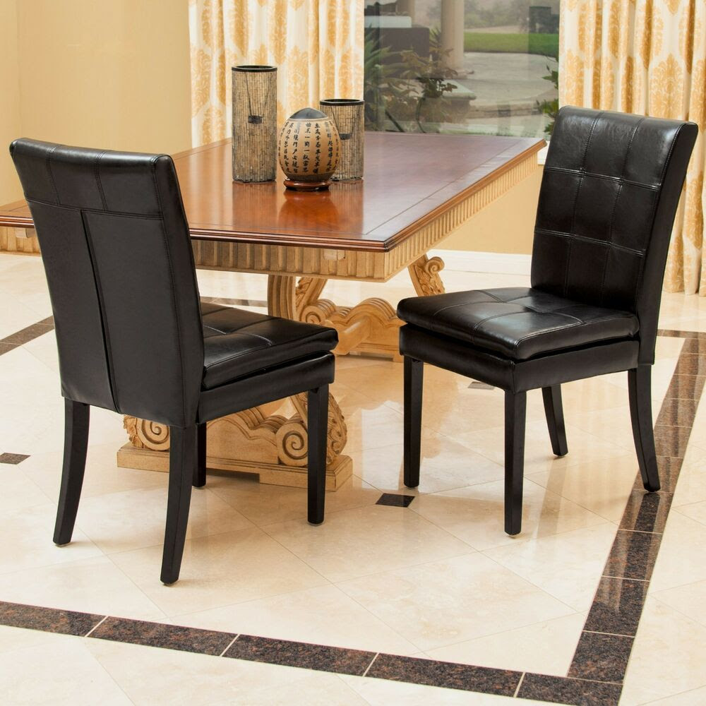 Set of 2 Dining Room Furniture Black Leather Dining Chairs ...