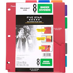 Five Star 8-Tab Binder Dividers with Pocket Multicolor
