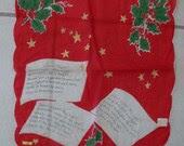 REDUCED Vintage 50s Christmas Hanky Handkerchief Christmas Carol Hymn Silent Night - chictrezures