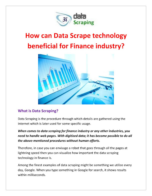 How can data scrape technology beneficial for finance industry