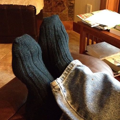 Wooo hoo! I finally finished my dad's Christmas socks!! (From 2012...they were too short and it's taken me this long to lengthen them)