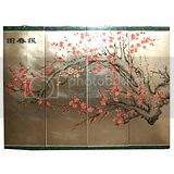 Cherry Blossom Four Panel Wall Hanging Screen