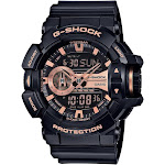 Casio G-Shock Black and Rose Gold-Tone Dial Resin Quartz Men's Watch GA400GB-1A4