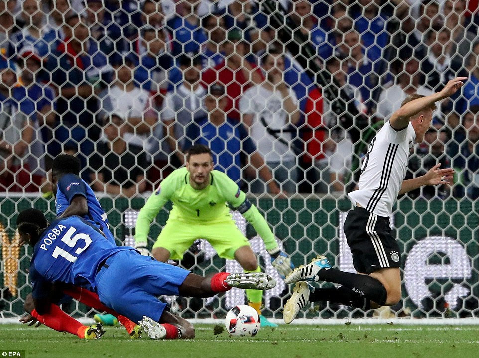 The Real Madrid midfielder went to ground after colliding with Pogba but he did not get the penalty kick he was looking for