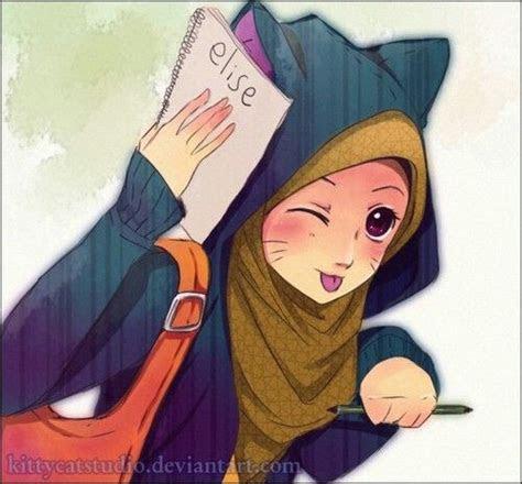gambar kartun wanita hijab gambar