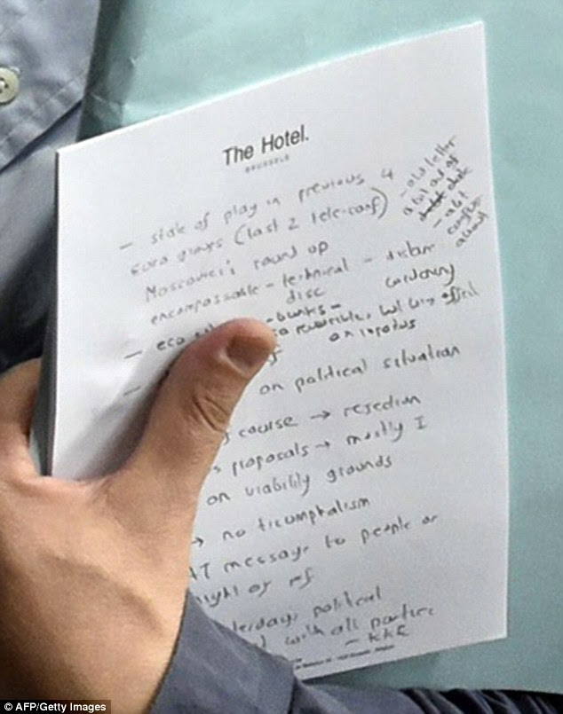 Revealed: Scrawled on hotel note paper and written in English, the plans include phrases such as 'political situation,' 'no triumphalism' and 'message to people'