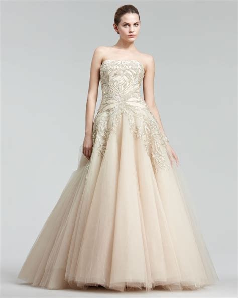 Marchesa Embroidered Princess Gown Size 4 Wedding Dress
