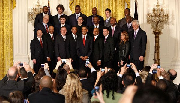 President Obama poses for a group photo with the L.A. Lakers at the White House on January 25, 2010.